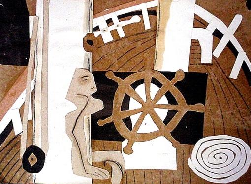 """""""A bord"""" Collage (30 / 21 cm)"""