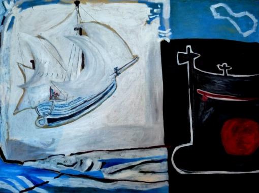 """""""Brume"""" Huile sur toile (102 / 73 cm)"""