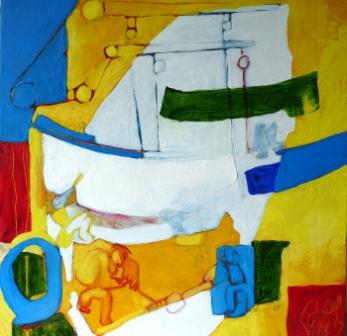"""""""Chantier naval"""" Huile sur toile (39 /39 cm)"""