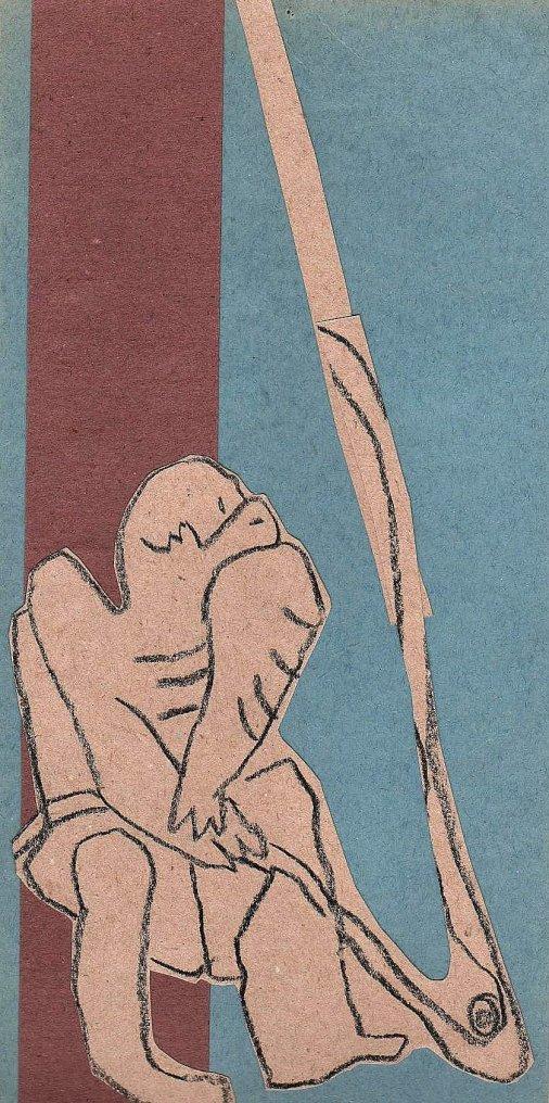 """""""Marin à la manoeuvre"""" Collage et dessin (30 / 15 cm)"""