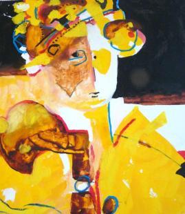 """""""Portrait du léopard passant l'hiver au chaud"""". Huile sur papier."""