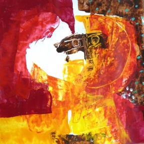 """""""Hélios"""" Huile sur papier (25/26 cm)"""