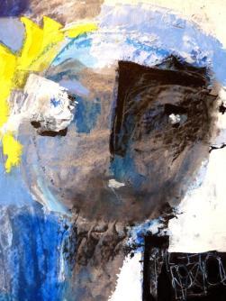 """""""Mésange (portrait)"""" huile sur papier (25 / 32 cm)"""