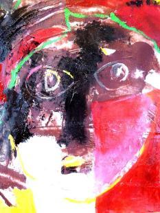 """""""Sigismond au son du cor"""" Huile sur papier (32 / 25 cm)"""