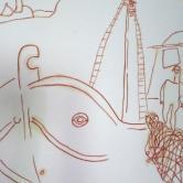 """""""Pécheur d'Egyne"""" Dessin sur papier (50 / 65 cm)"""