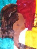 """""""Mal de mer (portrait)"""" Huile sur papier 525 / 32 cm)"""