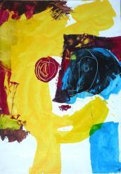 """""""Grand écart (Portrait)"""" Huile sur papier (25/35 cm)"""