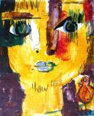 """""""Garçon à l'oiseau N° 2"""" Huile sur papier (16 / 20 cm)"""