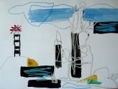 """""""Phares d'Ouessant"""" Aquarelle, encre et craies (32 / 25 cm)"""