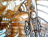 """""""Poulies"""" Huile sur papier (50 / 65 cm)"""