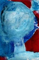 """""""Jeune fille bleue"""" Huile sur papier"""